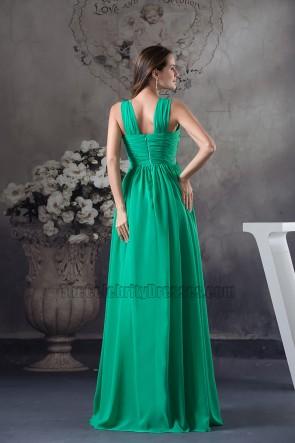 Long Hunter A-Line Chiffon Beaded Bridesmaid Prom Dress