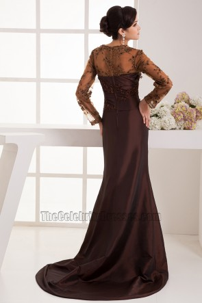 Elegant Brown Long Sleeves Formal Dress Evening Gowns