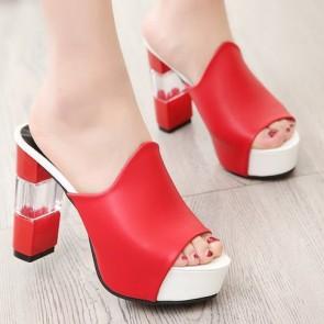 Open Toe Nude Chunky Heel  Sandals For Women