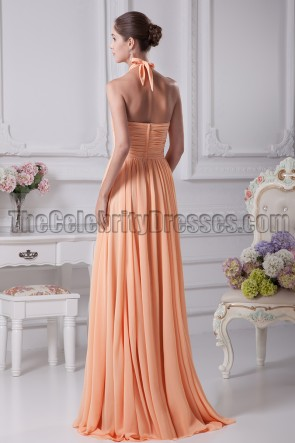 Orange Halter Bridesmaid Prom Gown Evening Dresses