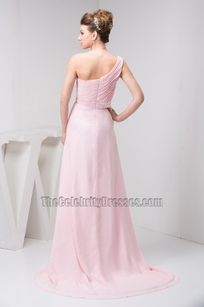 Pearl Pink One Shoulder Bridesmaid Prom Dresses