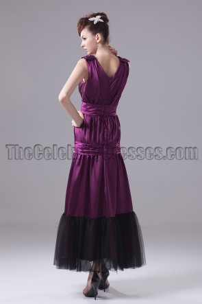Purple V-Neck A-Line Prom Gown Evening Dresses