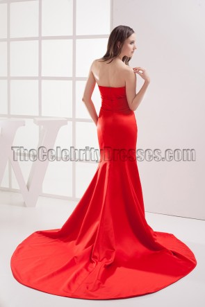 Elegant Red Strapless Mermaid Formal Dress Evening Gown
