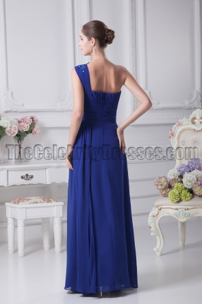 Dark Royal Blue One Shoulder Chiffon Prom Dresses