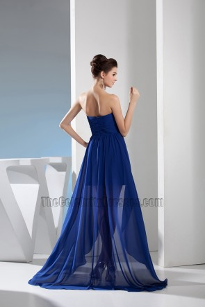 Royal Blue Sweetheart High Low Prom Gown Evening Dress