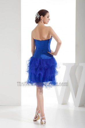 Royal Blue Strapless Homecoming Party Dresses With Beadwork