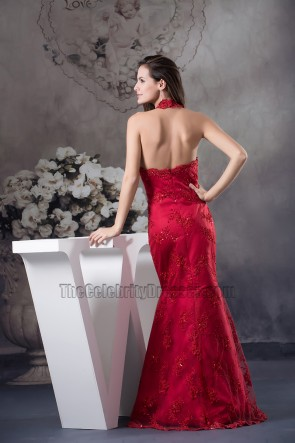 Sexy Burgundy Lace Halter Evening Dress Formal Gown