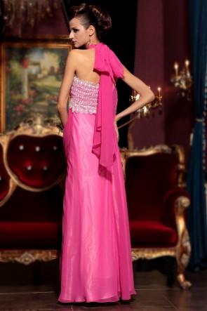 Sexy Fuchsia Chiffon Halter Prom Gown Evening Dresses