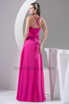 Sexy Fuchsia Long Chiffon Evening Dress Prom Gown