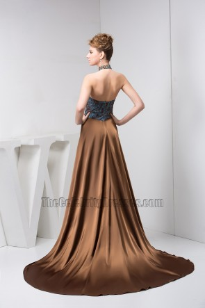 Sexy Halter A-Line Formal Gown Evening Prom Dresses