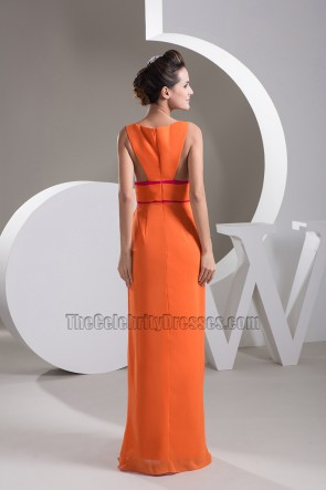 Sexy Orange Keyhole Chiffon Prom Gown Evening Dress