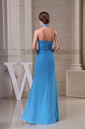 Sheath/Column Blue Halter Prom Gown Evening Formal Dresses