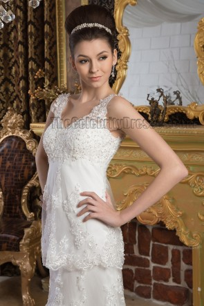 Sheath/Column Lace Beaded V-Neck Chapel Train Wedding Dresses