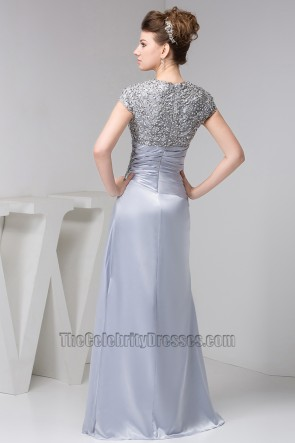 Sheath/Column Silver Embroidered Prom Gown Evening Formal Dresses
