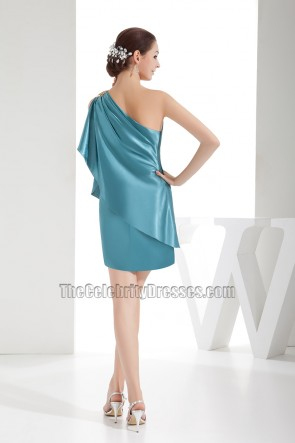 Short Mini Blue One Shoulder Party Homecoming Dresses