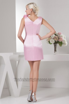 Short /Mini Pink V-Neck Party Graduation Homecoming Dresses
