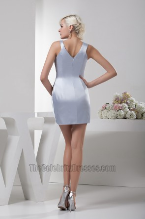 Short Mini Silver Beaded Party Cocktail Homecoming Dresses