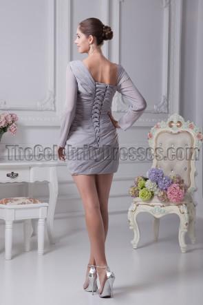 Sexy Short Mini Silver Long Sleeve Paty Dresses