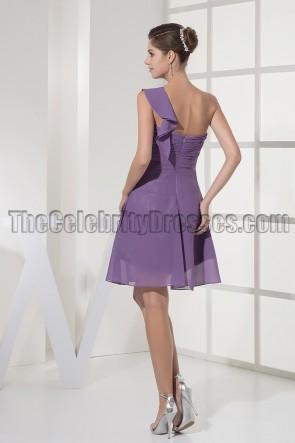 Short Purple One Shoulder Party Cocktail Graduation Dresses