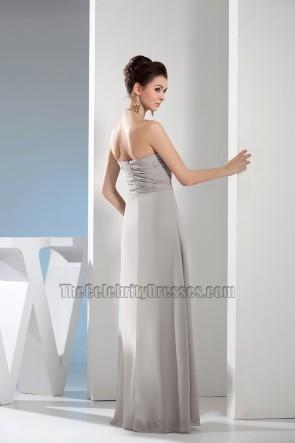 Simple Strapless Sweetheart Chiffon Bridesmaid Prom Dresses