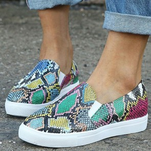 Snakeskin Print Decor Textured Flat Sneakers