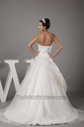 Strapless A-Line Organza Chapel Train Wedding Dresses