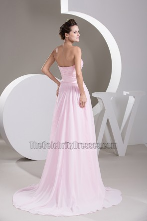 Strapless Pink Chiffon Prom Gown Bridesmaid Evening Dresses