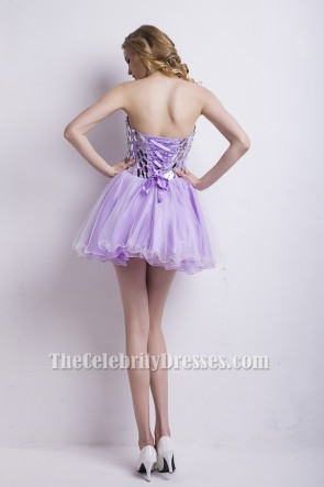 Short Mini Strapless Lilac Beaded Homecoming Party Dresses