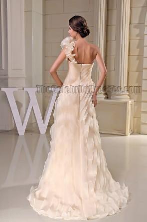 Stunning Champagne One Shoulder Formal Prom Bridesmaid Dresses