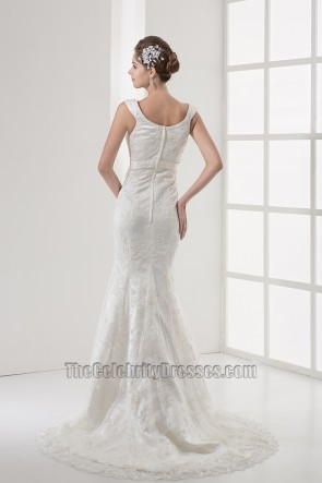 Trumpet/Mermaid Chapel Train Lace Wedding Dress With A Bow