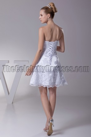 White Lace Strapless Party Cocktail Graduation Dresses