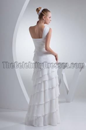 White One Shoulder Floor Length Formal Prom Dresses