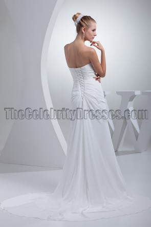 White Strapless Wedding Prom Evening Dresses