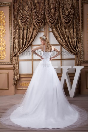 A-Line Beaded Chapel Train Wedding Dress Bridal Gown