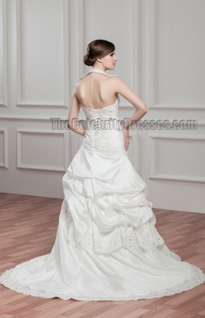 A-Line Halter Beaded Lace Up Wedding Dresses
