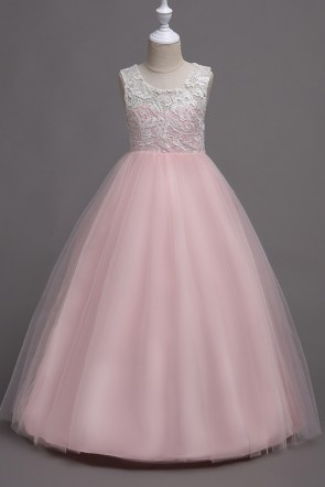A-Line Lace Sleeveless Junior Bridesmaid Dress