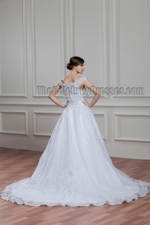 A-Line Off-The-Shoulder Embroidered Chapel Train Wedding Dress