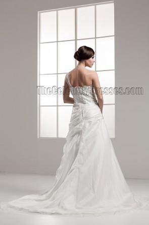 A-Line One Shoulder Chapel Train Wedding Dress Bridal Gown