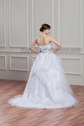 A-Line Strapless Chapel Train Organza Wedding Dresses
