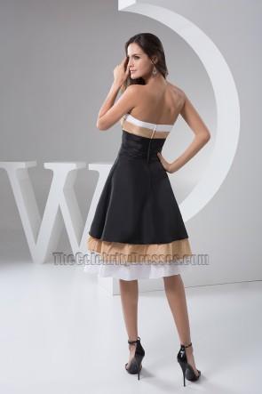 A-Line Strapless Knee Length Cocktail Graduation Dresses