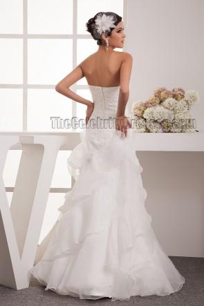 A-Line Strapless Sweetheart Floor Length Wedding Dress Bridal Gown