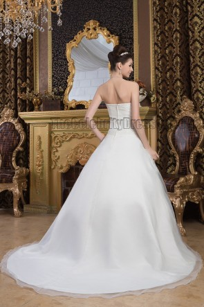 A-Line Sweetheart Strapless Chapel Train Organza Wedding Dresses