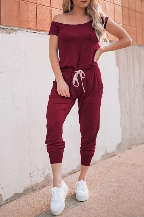 Fashion Solid Bateau Jumpsuits