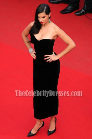 Adriana Lima Black Strapless Cocktail Dress 68th annual Cannes Film Festival TCD6902