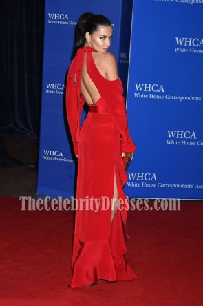 Adriana Lima Red Cutout Cold-shoulder Evening Prom Gown 102nd White House Correspondents' Association Dinner TCD6904