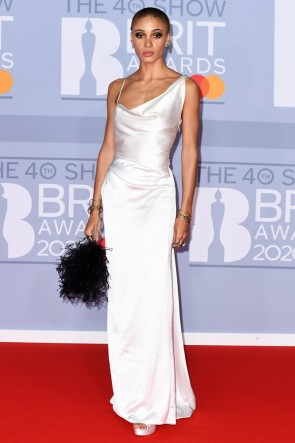 Adwoa Aboah White Sheath Formal Dress 2020 BRIT Awards