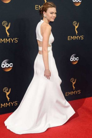 Aimee Teegarden White Halter High Slit Cut Out Evening Dress HBO Emmys 2016 TCD7400