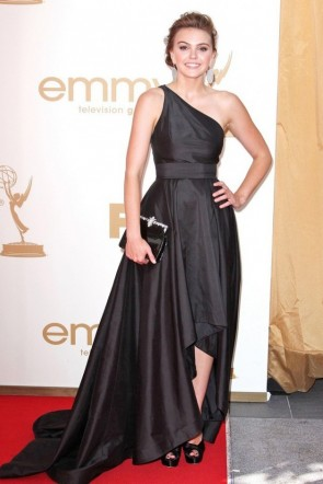 Celebrity Dresses Aimee Teegarden Black One Shoulder Formal Dress 2011 Emmy