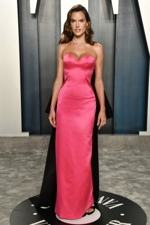 Alessandra Ambrosio Hot Pink Strapless Formal Dress 2020 Vanity Fair Oscar Party