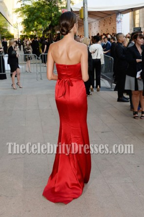 Alessandro Ambrosio Red Strapless Evening Dress 2014 CFDA Fashion Awards TCD6884